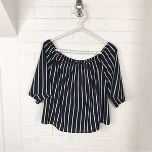{Ambiance} Striped Off The Shoulder Blouse